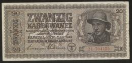 Ukraine 20 Karbovanez 1942 Pick 53 Fine - Oekraïne