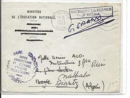Algérie LSC Ministère Education La Redoute Alger 04/07/63 **en Franchise** - Algeria (1962-...)