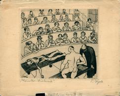 Allemagne STUTTGART  Reinhold  Naegele Nägele Peintre Graphiste Petite Gravure Eau-forte  RN32  Künstler Anatomie 15x12 - Documentos Antiguos
