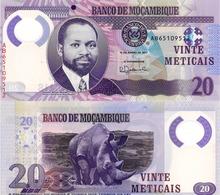 "MOZAMBIQUE 20 Meticais, 2017, P149, UNC, ""Rhino"" Polymer - Mozambique"