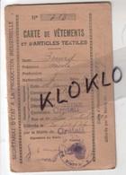 CARTE DE VETEMENTS ET D'ARTICLES DE TEXTILES  413 Bréard Nicole 47 Allée Centrale CRETEIL - Rationnement 1946 Généalogie - Documents Historiques