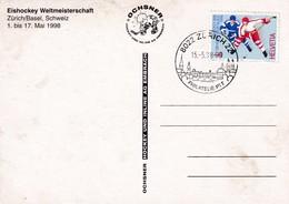 Switzerland 1998 Card: Ice Hockey Sur Glace Eishockey IIHF World Championship WM; Frama Label; Flags Zürich Cancellation - Hockey (Ice)