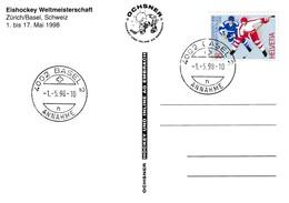 Switzerland 1998 Card: Ice Hockey Sur Glace Eishockey IIHF World Championship WM; Frama Label; Flags Basel Cancellation - Hockey (sur Glace)