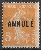 France  N° 158 CI 1 NMH 5 Centimes Orange Semeuse ANNULE  (F20) - Corsi Di Istruzione