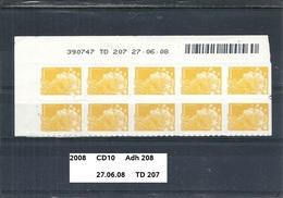 CD10 Adhésifs De 2008 Neuf** Y&T N° 208 Daté 27.06.08 TD 207 - Dated Corners