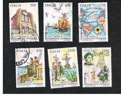 ITALIA REPUBBLICA  - SASS. 2023.2028    -   1992  GENOVA 92: COLOMBO (SERIE COMPLETA DI 6)    -      USATO - 6. 1946-.. Repubblica