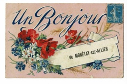 Un Bonjour De Monétay Sur Allier - Carte Fantaisie Illustrée (fleurs, Coquelicots, Bleuets, Marguerites) Circ 1921 - France