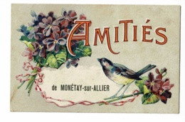 Amitiés De Monétay Sur Allier - Carte Fantaisie Illustrée (Violettes, Mésange) Circulé Sans Date, Sous Enveloppe - Other Municipalities