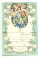 Lettre De Voeux Avec Découpis, Fillette, Colombe, Fleurs,... - Wandre 1935 (b275) - Children