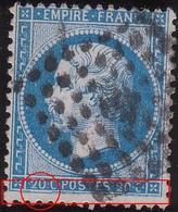 N°22 Superbe Variété Dédoublement Du Filet Inférieur + Accident, Variété Constante Mais Non Placée, 1er Choix - 1862 Napoleon III