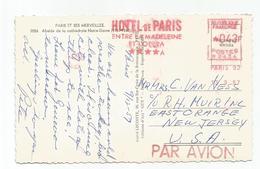 EMA 43FR HOTEL DE PARIS ENTREE LA MADELEINE ET L'OPERA PARIS 92 1959 CP AVION POUR USA - Marcophilie (Lettres)