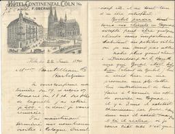 Allemagne - Lettre Avec Entête - Grosse Correspondance 22 Juin 1894 - Hôtel Continental,Cöln - F.Obermeit - Köln - Sports & Tourism