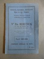 Catalogue/Tarif 1937/38 - Vve Pol Rebstock Paris - Brosses, Matériel, Outillage,Blanc De Zinc, Vêtements Pour Peintres - Vieux Papiers