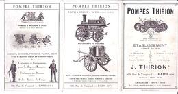 POMPES THIRION -1913- RUE DE VAUGIRARD  PARIS XV -POMPES A VAPEUR FIXE ET POMPE ALIMENTAIRE-COMPRESSEUR-POMPE A INCENDIE - Werbung