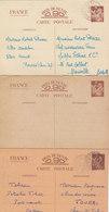 """5 CARTES DE CORRESPONDANCE TYPE """" IRIS """" DIVERSES COULEURS.1940-41.DONT 1 NEUVE ET 1 T.RARE AU DEPART DE DAKAR.T.B.ETAT - Entiers Postaux"""