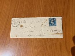 LAC Du 28/11/1863- Cachet Perlé -  GC 1412 D' ESCRAGNOLLES -  Boite Rurale  D  ( ANDON ) - 1849-1876: Classic Period