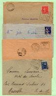 4 FLAMMES DAGUIN - JOIGNY + St-ETIENNE + MODANE + CONAKRY - Sur Enveloppes - - Marcophilie (Lettres)