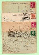 4 FLAMMES DAGUIN - LYON + MONTE-CARLO + PONTARLIER + CHATELGUYON - - Marcophilie (Lettres)