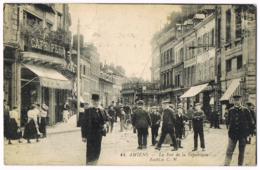44 Amiens - La Rue De La République - Très Belle Animation - Tramway - Expo Internationale Des Arts Décoratifs 1925 - Amiens