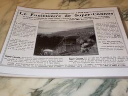 ANCIENNE PUBLICITE LE FUNICULAIRE DE SUPER CANNES 1928 - Sin Clasificación