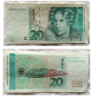 20 Deutsche Mark. Annette Von Droste-Hûlshoff. 1993 - [ 7] 1949-… : RFA - Rep. Fed. Tedesca