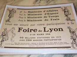 ANCIENNE PUBLICITE FOIRE DE LYON 1917 - Advertising