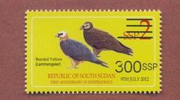 SOUTH SUDAN 2017 Surcharge Overprint VARIETY Thin Font 300 SSP On 2 SSP Birds Vulture Stamp Südsudan Soudan Du Sud - Zuid-Soedan