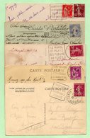 5 FLAMMES DAGUIN - SERVOZE + FOR-MAHON + LE RAYOL + COMBLOUX + St-AYGULF - Cachets Pointillés - - Marcophilie (Lettres)