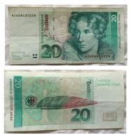 20 Deutsche Mark. Annette Von Droste-Hûlshoff. 1993. Bon état. - 20 Deutsche Mark