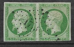 France Paire Du N° 12  Vert Oblitérés Petits Chiffres 1773  Louhans   B/TB  Soldé à Moins De 10  %   ! ! ! - 1853-1860 Napoleon III