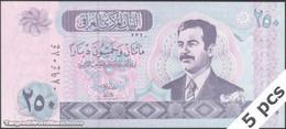 TWN - IRAQ 88a - 250 Dinars 2002 DEALERS LOT X 5 UNC - Iraq