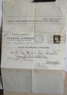 STPN224- DOCUMENTO ISTITUTO GUARDIA NAZIONALE D' ONORE REALI TOMBE PANTHEON - IMPERIALE 10 C AUGUSTO - ROMA - PERUGIA - 1900-44 Vittorio Emanuele III