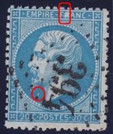 N°22 Variété R De FRANC Remplacé Par Une Grosse Tache Blanche Plus Tache Blanche Sous Le Menton, TB Et RRR - 1862 Napoleon III