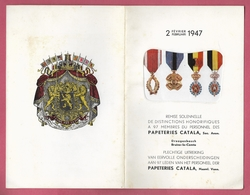 Papeteries Et Cartons CATALA à Braine-le-Comte Et Droogenbosch 2 Février 1947 De Distinctions Honorifques à 97 Membres - Historische Documenten