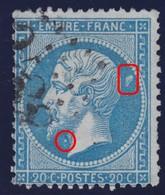 N°22 Variété Très Grosse Tache Floue Derrière La Tête Et Tache Blanche Sous Le Menton, TB Et RRR - 1862 Napoleon III