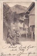 250711Davos, Alpenhaus Mit Kühe. 2 Mei 1901 (sehe Ecken Und Risschen) - GR Grisons