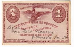 Entier Postal Guatemala 1895 Ferrocarril Norte Union Postal Universal American Bank Note Company New York - Guatemala