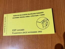 Carnet De 10 Vignettes - Fédération Des Sociétés Philatéliques Francaises -groupement Régional Riviéra/cote D'azur/corse - Erinnophilie