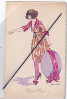 Joyeuses Pâques ;Signé X.SAGER . Croquis D'une Jeune Femme Coquette Portant Un Oeuf Avec Ruban - Pâques
