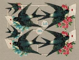 Littauer & Boysen - L & B 3974 - SCRAP -  DECOUPIS  - Gaufré / Embossed - Birds / Oiseaux - 2 Scans - Animals