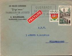 Lettre, Loire Atlantique, Guerande Pour Villeurbanne Rhone, Fabrique De Jouets, 1958    (bon Etat) - 1921-1960: Période Moderne