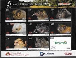 ECUADOR, 2019, MNH, BIODIVERSITY STATION TIPUTINI , FAUNA, BATS, SHEETLET OF 9v - Pipistrelli