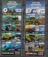 ECUADOR, 2019, MNH, TOURISM, IGUANAS, WHALES, SHARKS, BIRDS, SEALS, BUTTERFLIES, TRAINS, RAFTING, BOATS, 2 BOOKLETS - Ballenas