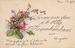 AK Gruss Aus Dem  K.k. Allg. Krankenhaus Wien - Glitzer Glitter Blumen - Wien - 1901 (47920) - Saluti Da.../ Gruss Aus...