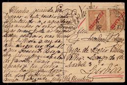"VELHA GOA Ruinas Convento S.Agostinho. Circulado 1913 C/ 2 Selos D.Carlos De INDIA - PANGIN To PORTUGAL ""Via Brindisi"" - Portugiesisch-Indien"