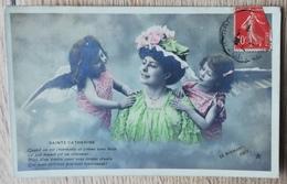 CPA FANTAISIE SAINTE-CATHERINE Femme Enfants Anges Angelots. LE NORMAND PHOTO - Sainte-Catherine