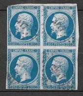 """France Rare  N° 14A  Bloc De 4   Oblitérés PC  """"017"""" Aigues-Mortes   B/TB   Soldé   à Moins De 15  %  ! ! ! - 1853-1860 Napoléon III"""