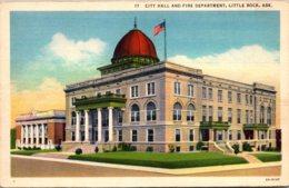 Arkansas Little Rock City Hall And Fire Department Curteich - Little Rock