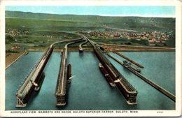 Minnesota Duluth Superior Harbor Aeroplane View Of Mammoth Ore Docks Curteich - Duluth