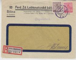 R-Brief Mir R-Zettel (11a) Bilin (Sudentenl)  Aus BILINA 1945 - Storia Postale